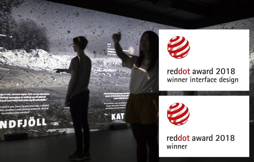 Young people interacting with virtual volcanoes at the LAVA Centre - reddot award 2018